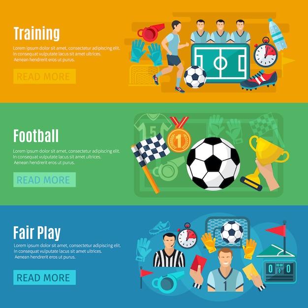 Fußball horizontale banner gesetzt Kostenlosen Vektoren
