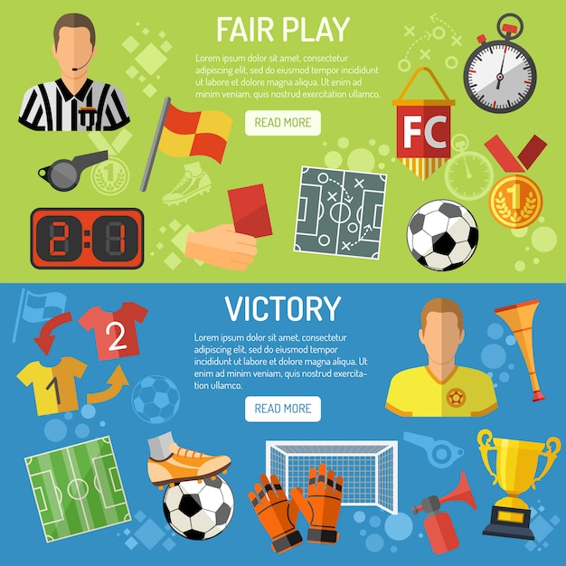 Fußball horizontale banner Premium Vektoren