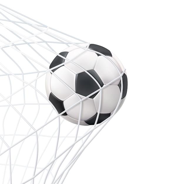 Fußball im netz-piktogramm Kostenlosen Vektoren