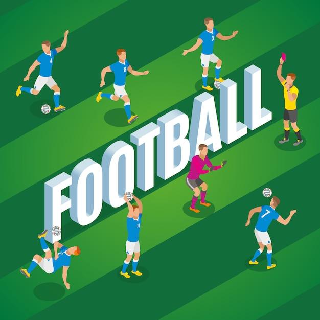 Fußball isometrisch mit spielern in der bewegung, die ball auf stadionsfeldillustration tritt Kostenlosen Vektoren