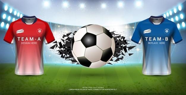 Fußball jersey mock-up team a gegen team b für sportveranstaltung Premium Vektoren