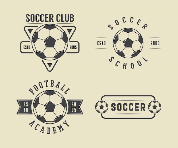 Fußball- oder fußballlogosatz Premium Vektoren