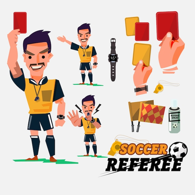 Fußball- oder fußballschiedsrichter mit kartenillustration Premium Vektoren
