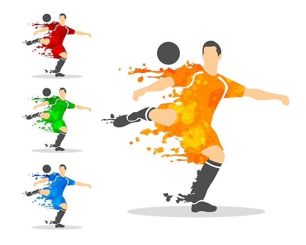 Fußball oder fußballspieler in einer aktion mit splash splat und aquarell Premium Vektoren