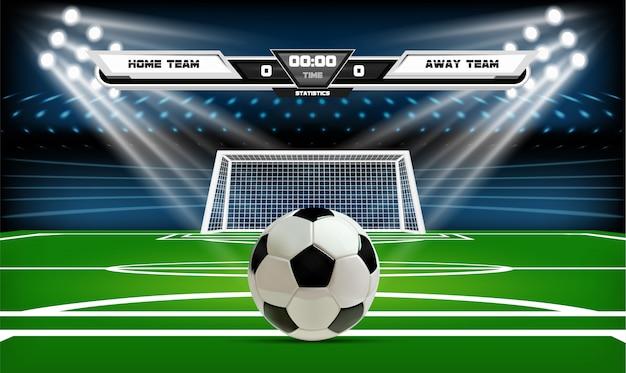 Fußball- oder fußballspielfeld mit ball. Premium Vektoren