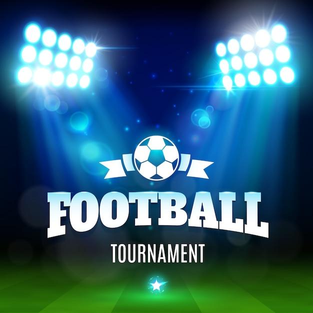 Fußball- oder fußballstadionfeld mit ball, lichter Premium Vektoren