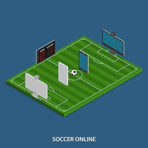 Fußball online isometric Premium Vektoren