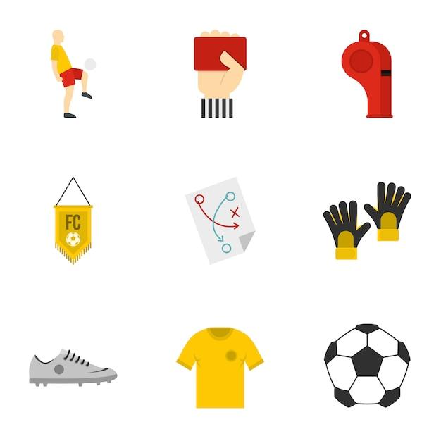 Fußball-set, flachen stil Premium Vektoren