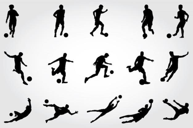 Fußball silhouetten Premium Vektoren