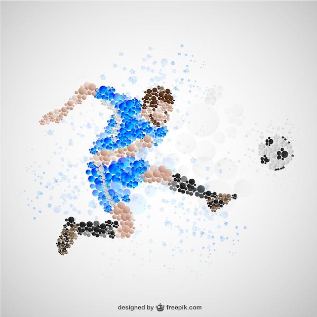 Fußball-spieler kicking fußball Kostenlosen Vektoren