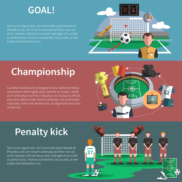 Fußball sport banner gesetzt Kostenlosen Vektoren