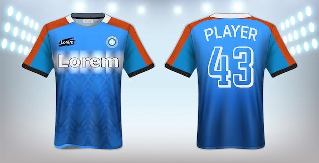 Fußball-t-shirt sport-modell-schablone Premium Vektoren