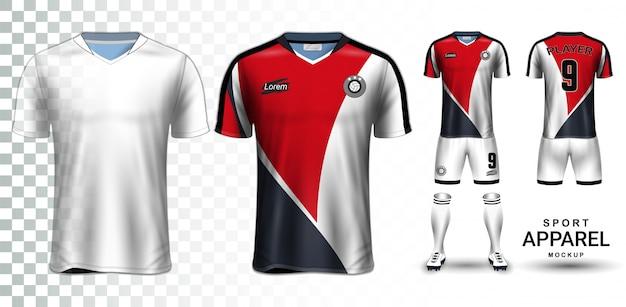 Fußball-trikot und fußball-kit-präsentationsmodell-vorlage Premium Vektoren