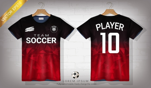 Fußball trikot und t-shirt sport mock-up-vorlage Premium Vektoren
