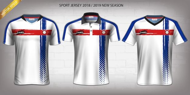 Fußball-trikot- und t-shirt-sportmodellschablone. Premium Vektoren