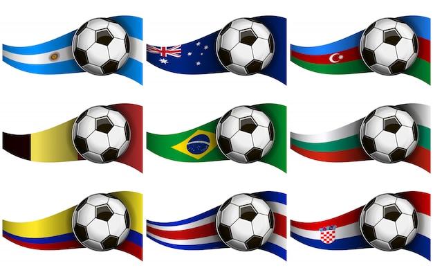 Fußball und flaggen Premium Vektoren