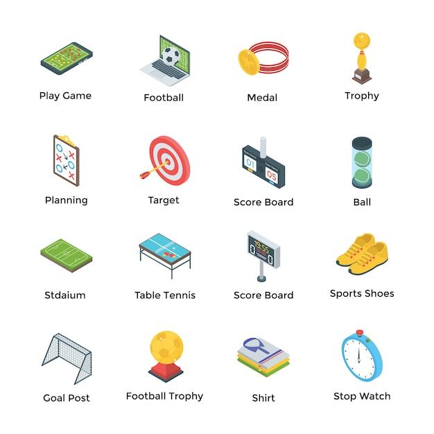 Fußball und spiele icons Premium Vektoren