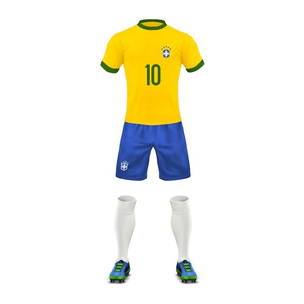 Fußball-uniform eines brasilien-teams, sportkleidung, t-shirt, shorts, socken und stiefel Kostenlosen Vektoren
