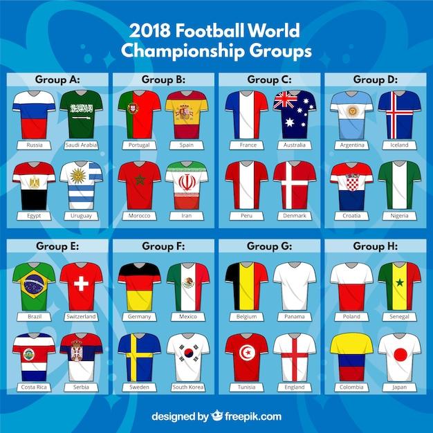 Fußball-weltmeisterschaft mit verschiedenen ausrüstungen Kostenlosen Vektoren