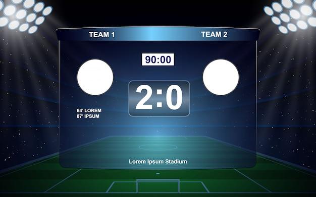 Fußballanzeigetafel ausgestrahlt Premium Vektoren