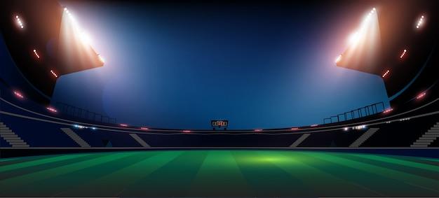 Fußballarenafeld mit heller stadionbeleuchtung beleuchtung Premium Vektoren