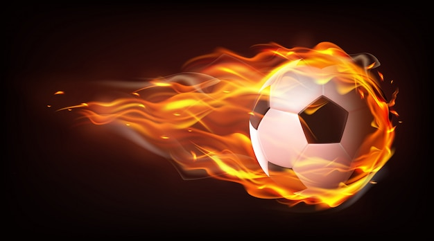Fußballballfliegen im realistischen vektor der flammen Kostenlosen Vektoren
