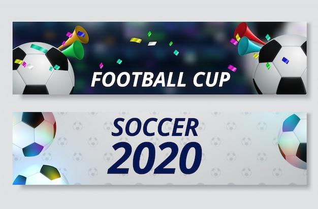 Fußballcup, fußballmeisterschafts-fahnensatz Premium Vektoren
