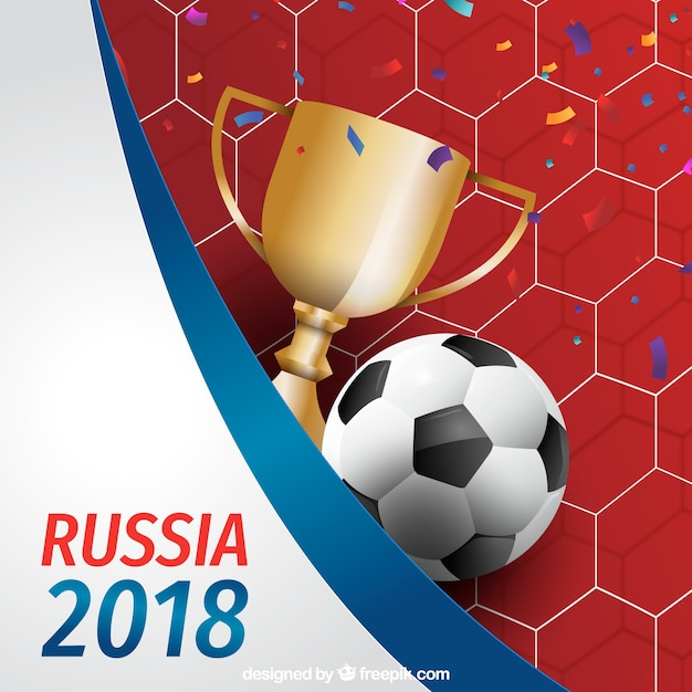 Fußballcuphintergrund in der realistischen Art Kostenlose Vektoren