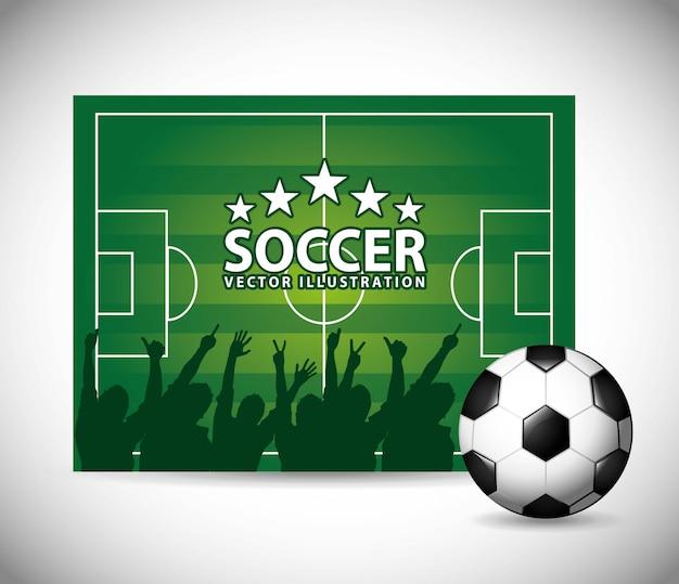Fußballdesign über grauer hintergrundvektorillustration Premium Vektoren