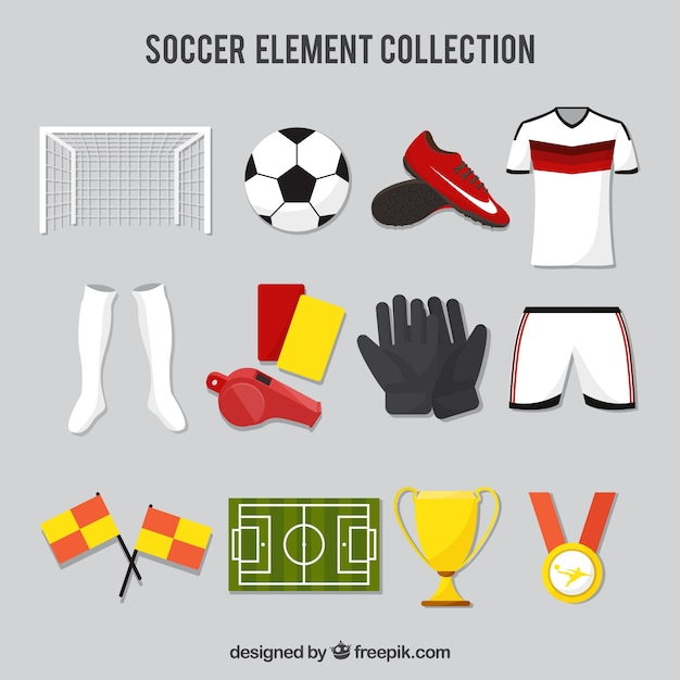 Fußballelemente sammlung mit ausrüstung Kostenlosen Vektoren