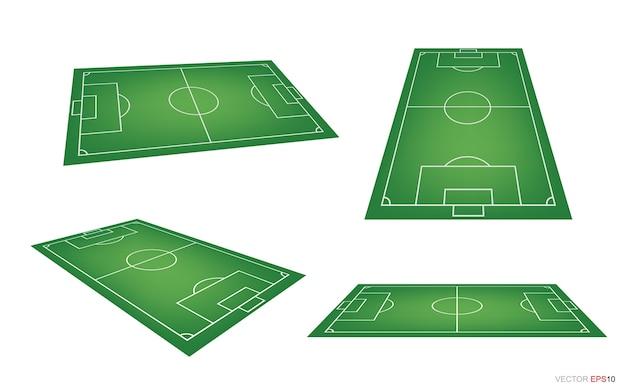 Fußballfeld oder fußballfeldhintergrund lokalisiert auf weiß Premium Vektoren