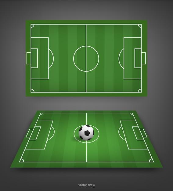 Fußballfeld oder fußballfeldhintergrund mit fußball Premium Vektoren