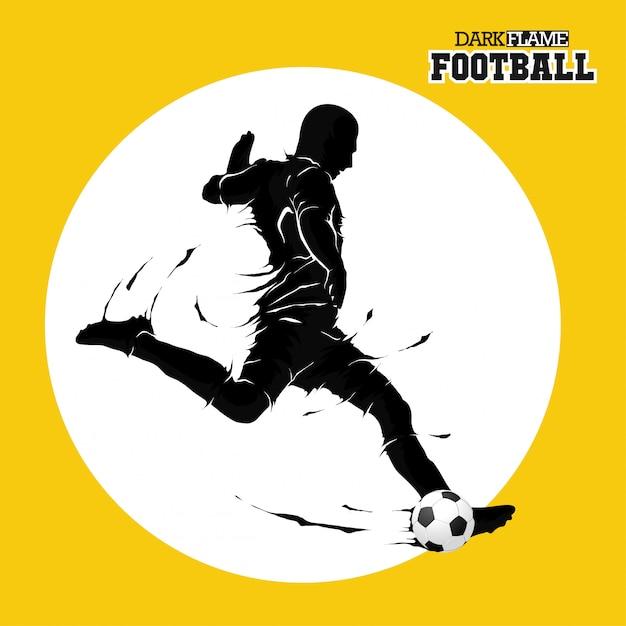 Fußballfußball, der dunkles flammenschattenbild aufwirft Premium Vektoren