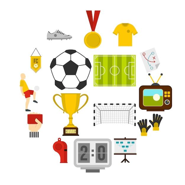 Fußballfußballikonen eingestellt in flache art Premium Vektoren