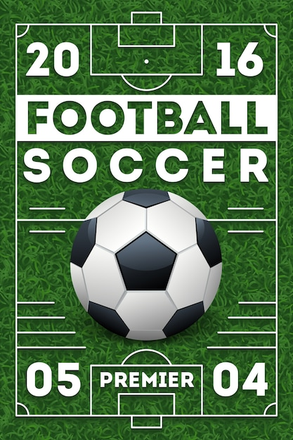 Fußballfußballplakat mit feld Premium Vektoren