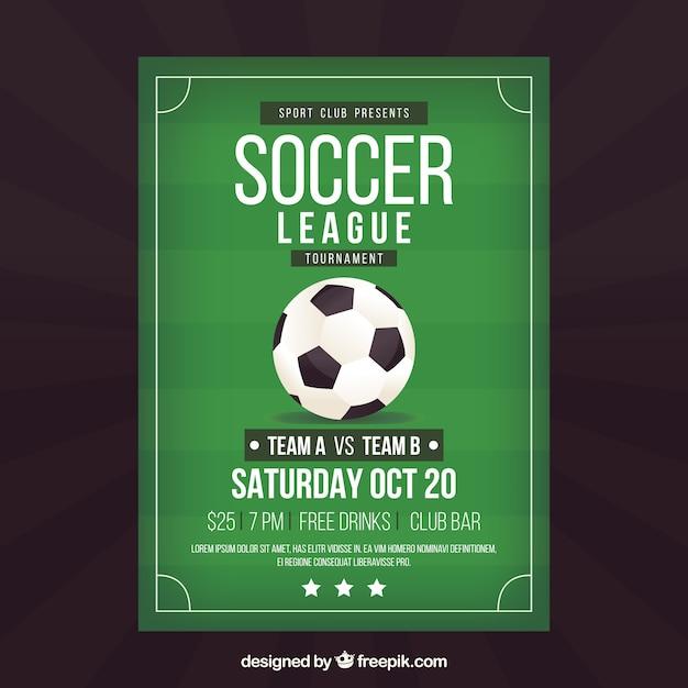 Fußballligaflieger mit ball in der flachen art Kostenlosen Vektoren