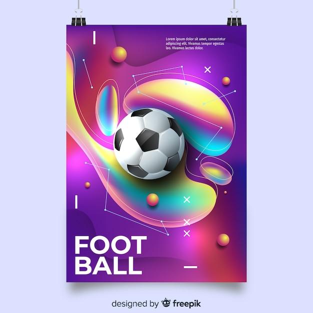 Fußballplakatschablone mit flüssigen formen Kostenlosen Vektoren