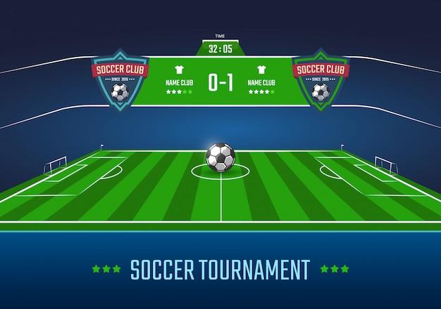 Fußballplatz in der horizontalen perspektive mit anzeigetafelillustration Premium Vektoren