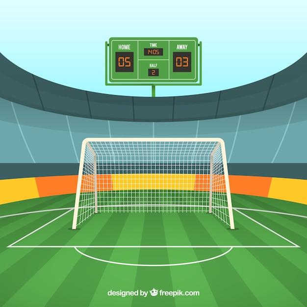 Fußballplatzhintergrund mit anzeigetafel Kostenlosen Vektoren