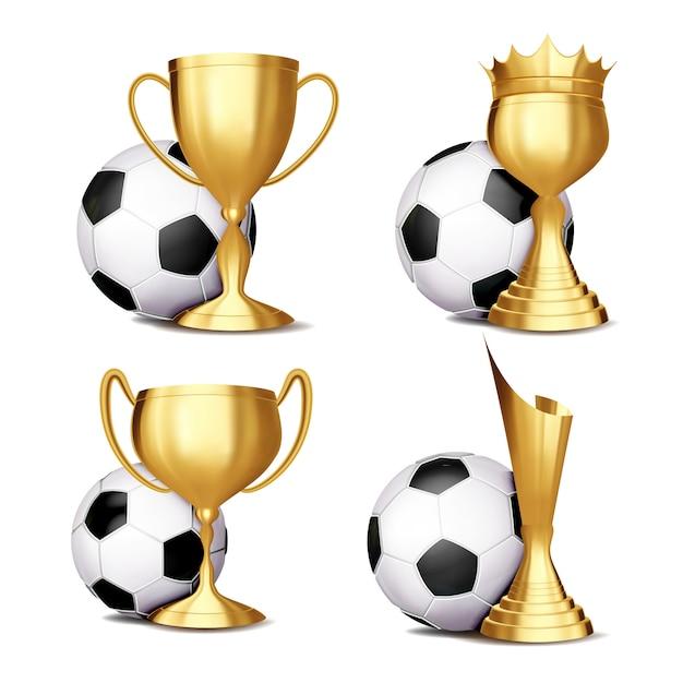 Fußballspiel award set Premium Vektoren