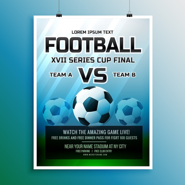 Fußballspiel Event Turnier Einladung Design-Vorlage Kostenlose Vektoren