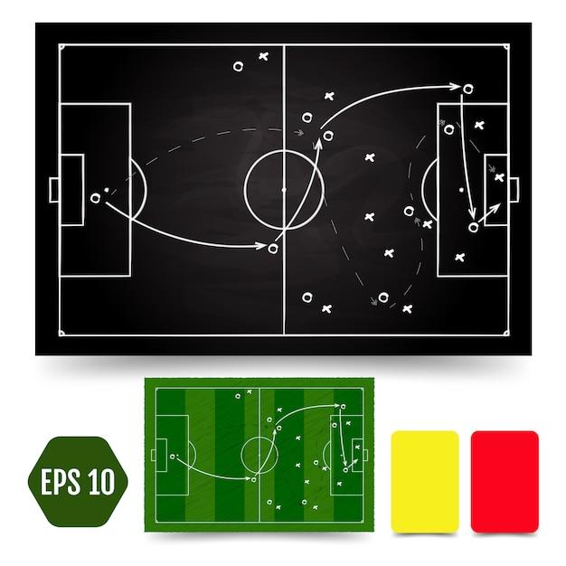 Fußballspiel taktisches schema. rahmen und strategie der fußballspieler Premium Vektoren