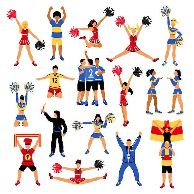 Fußballspieler cheerleader und fans eingestellt Kostenlosen Vektoren