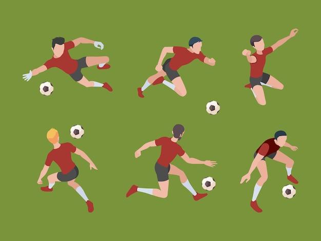 Fußballspieler. sportfiguren fußballspieler in aktiven posen torwart isometrische erwachsene 3d menschen. Premium Vektoren