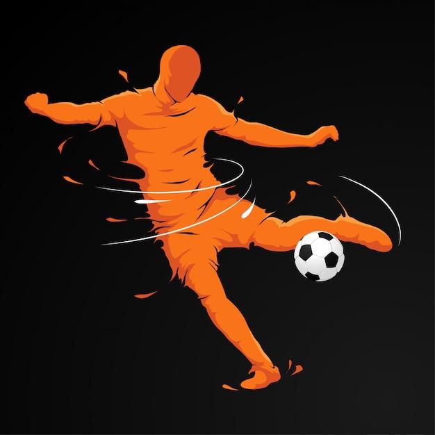 Fußballspieler treten Premium Vektoren