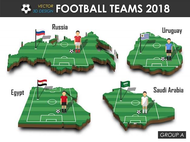Fußballspieler und flagge auf landkarte des designs 3d. Premium Vektoren