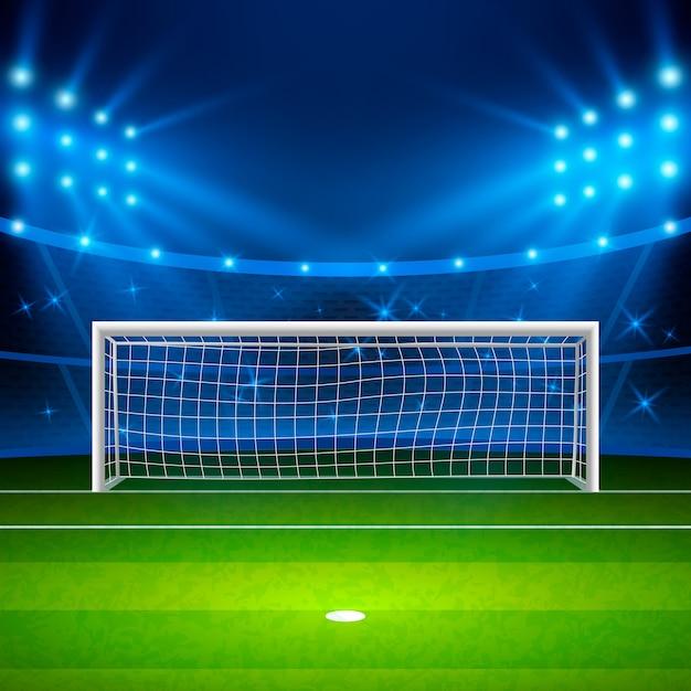 Fußballstadion. grünes fußballfeld auf stadion, arena in der nacht beleuchtete helle scheinwerfer. Premium Vektoren