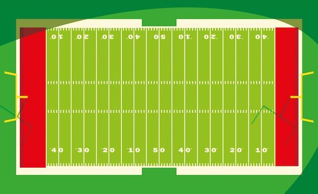 Fußballstadion mit lichtern, fußballspielamerikaner Premium Vektoren