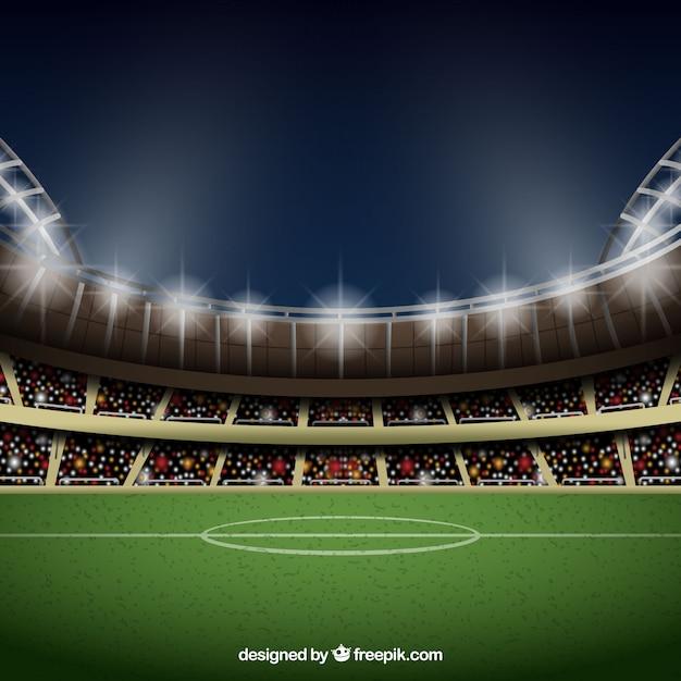 Fußballstadionhintergrund in der realistischen art Kostenlosen Vektoren