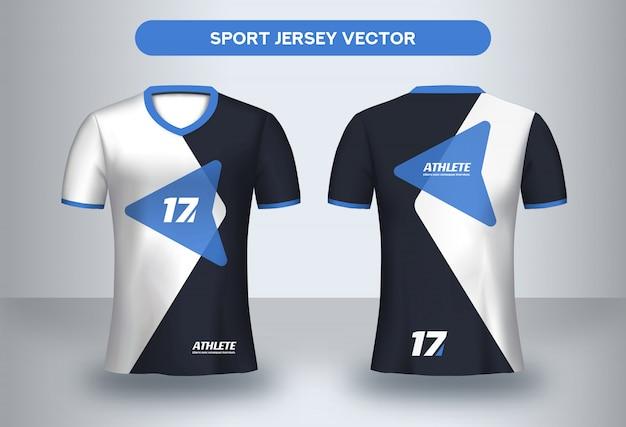 Fußballt-shirt schablone, vorder- und rückansicht des fußballvereinuniform-t-shirts. Premium Vektoren